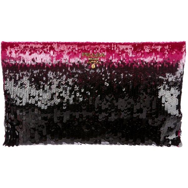 2d571b54f1f0 Pre-owned Prada Sequined Zip Clutch ( 495) ❤ liked on Polyvore featuring  bags