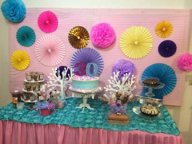 Decoracion de mesa de postres con rosetones o abanicos for Decoracion con abanicos