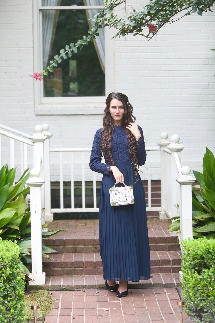 Stroll at the manor dress navy fashion pinterest lace long