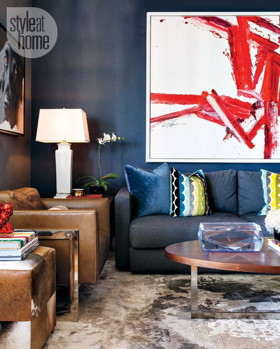 the masculine living room with grey sofas and stylish furnishings   Small space: Moody masculine apartment   Living room ...