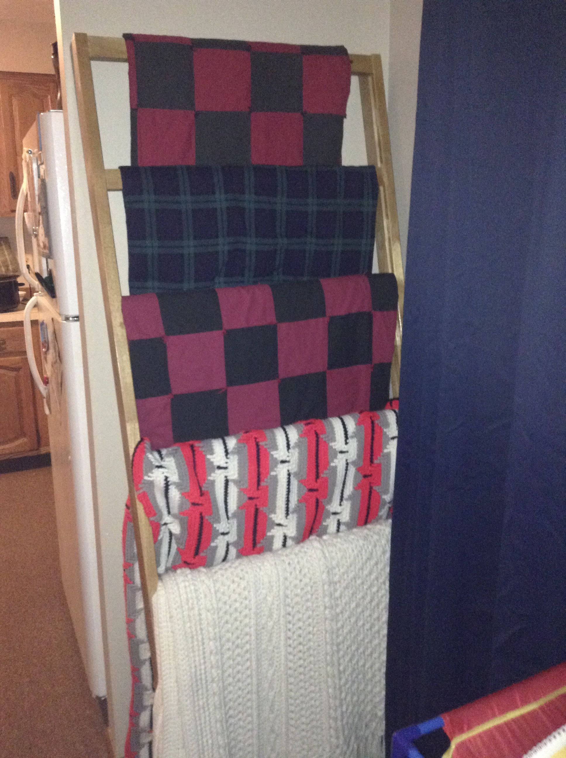 repurposed part of a broken futon frame into a throw blanket ladder  got the idea repurposed part of a broken futon frame into a throw blanket      rh   pinterest