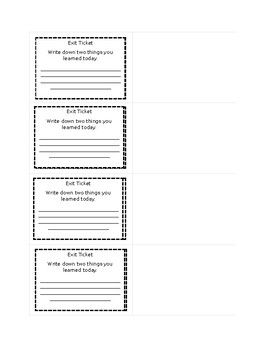 Editable Exit Ticket Template Word Doc Exit tickets Pinterest