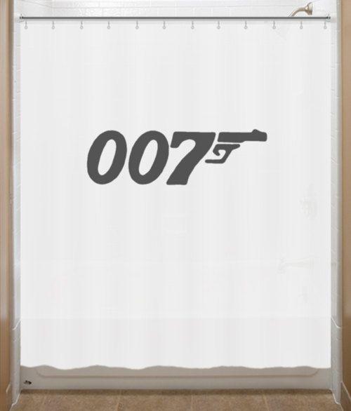 007 James Bond Shower Curtain Bathroom Decor Bath Kids Cool Shower