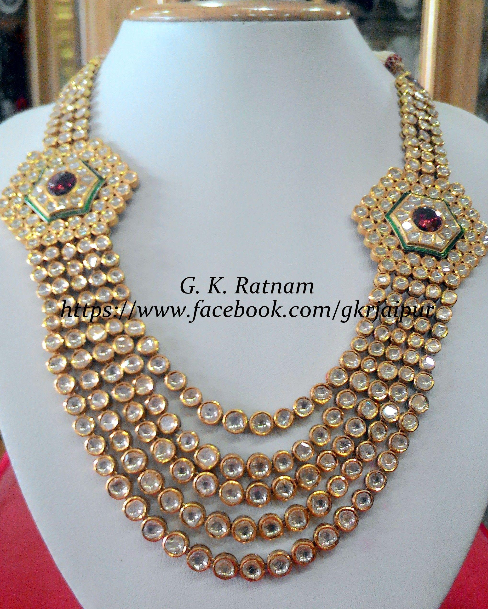 Regal fiveline diamond polki necklace with rodolite broach