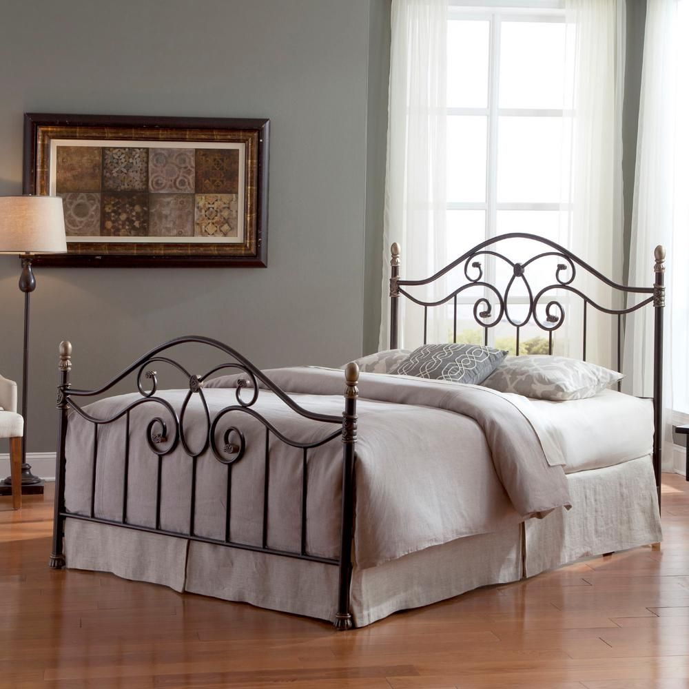 Fashion Bed Group Dynasty Autumn Brown California King Size Complete Bed With Arched Metal Panels And Scalloped Finial Posts B91n57 The Home Depot Queen Size Bed Frames Bed Styling California King Platform