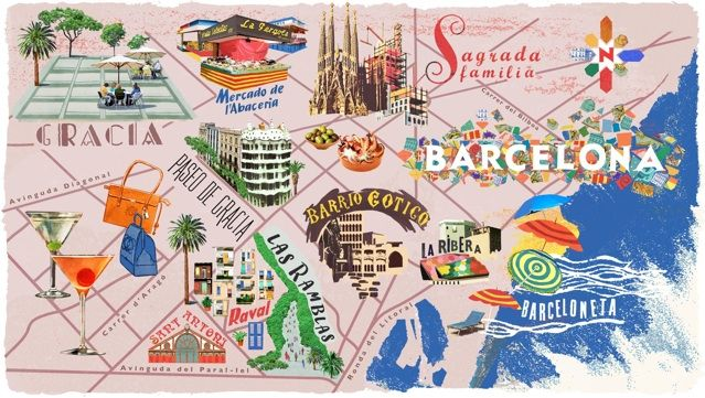 #Barcelona #map with sights, by Anna Simmons
