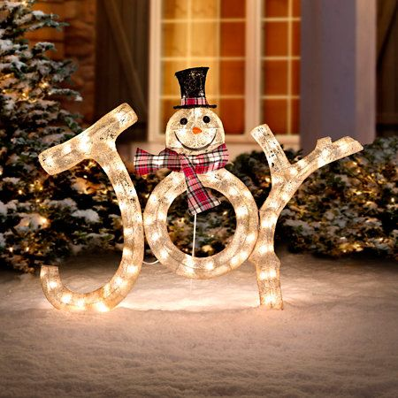 Spread Joy In Your Neighborhood With Our Lighted Snowman Outdoor Christmas Decoration Indoors And Outdoors It Has 45 Warm White Incandescent Lights