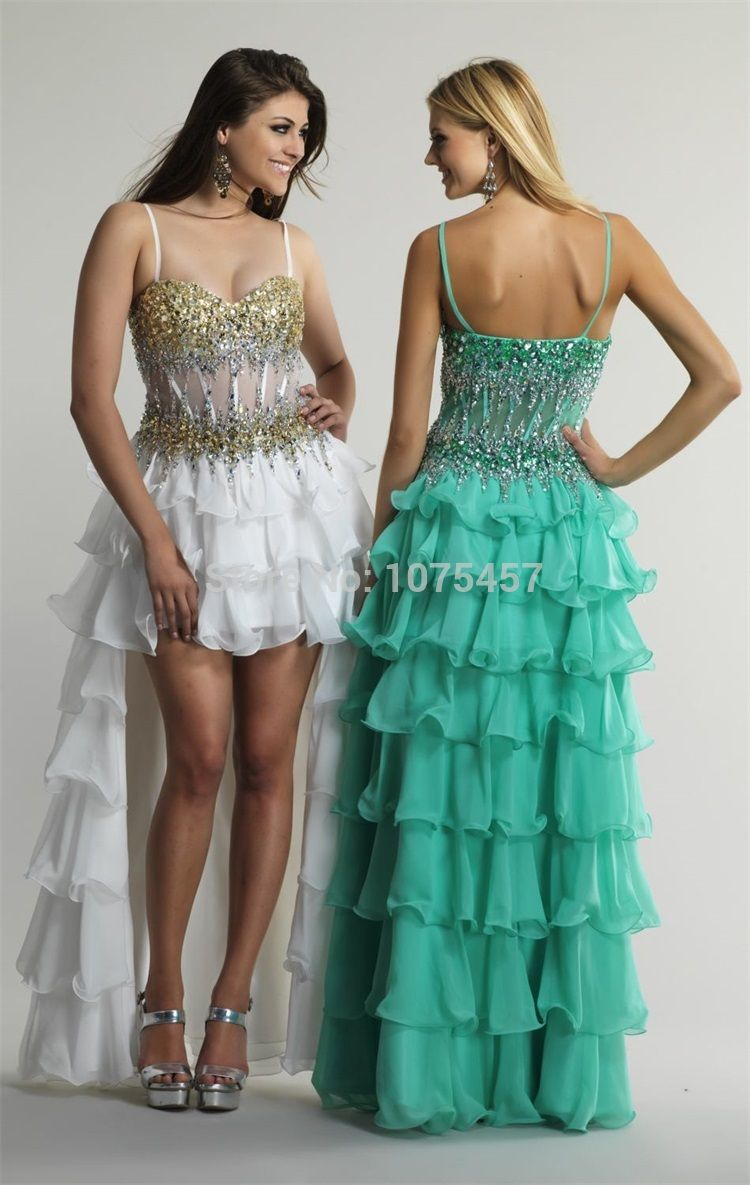 Click to Buy << New Arrival Emerald Green High Low Prom Dress 2015 ...