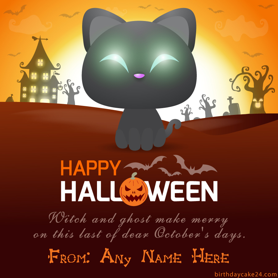 Spooky Halloween Greeting Card With Name Edit Halloween Greeting Card Greeting Card Template Halloween Greetings