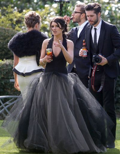 See All The Photos From Shenae Grimes Dark Wedding Black Wedding Gowns Black Wedding Wedding Gowns