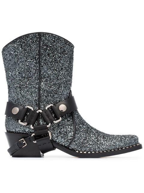 5a6f82cc4abb Shop Miu Miu 40 Glitter Cowboy Boots