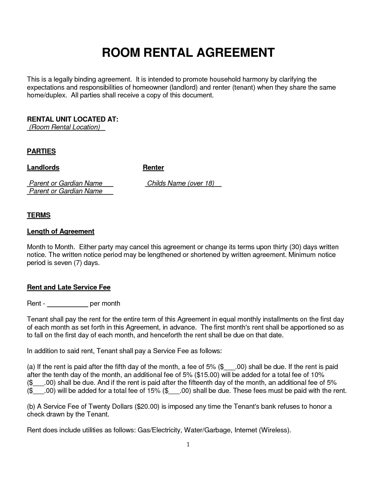 Room Rental Agreement Rental Agreement Templates Rental