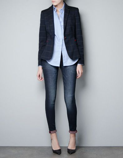 new style 94ab7 78818 I love this Zara blazer. Especially the red elbow patches! Already picked  one up, can t wait for FALL! CHECKED WOOL ...