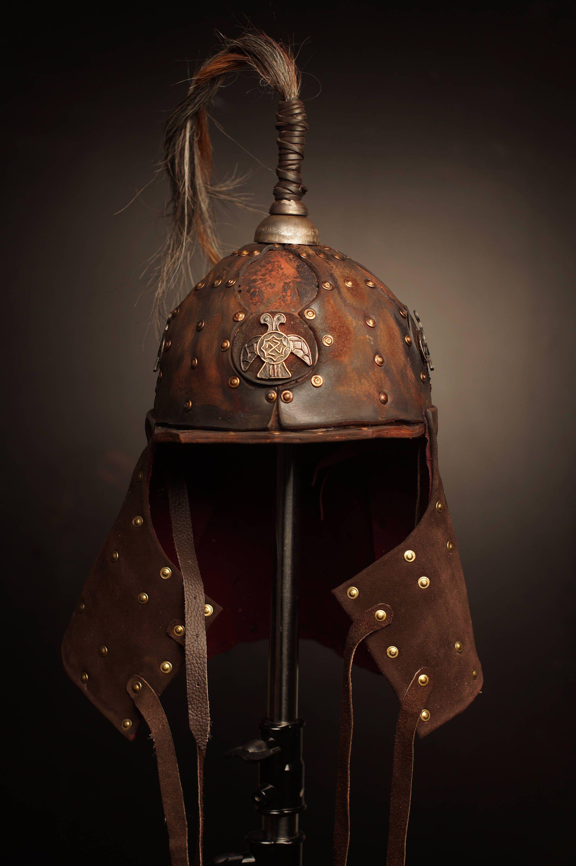 natural fancy medieval Helmet headband warrior elfe black leather