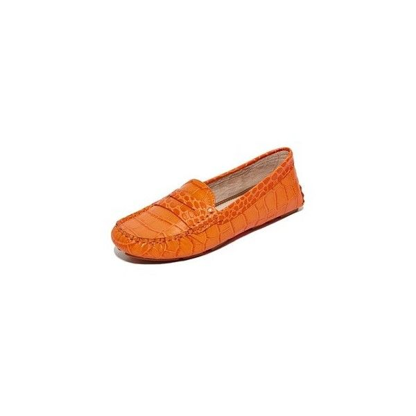 Sam Edelman Filly Driver Loafers ($100) ❤ liked on Polyvore featuring shoes, loafers, classic orange, leather flat shoes, sam edelman, sam edelman shoes, leather flats and orange flat shoes