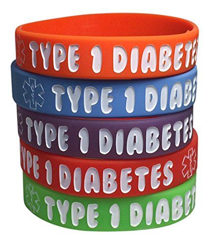Kid S Type 1 Diabetes Silicone Medical Alert Bracelets Pack Of 5 Red Orange Purple Green Blue 6 Inches More Info Could Be Found At The Image Url