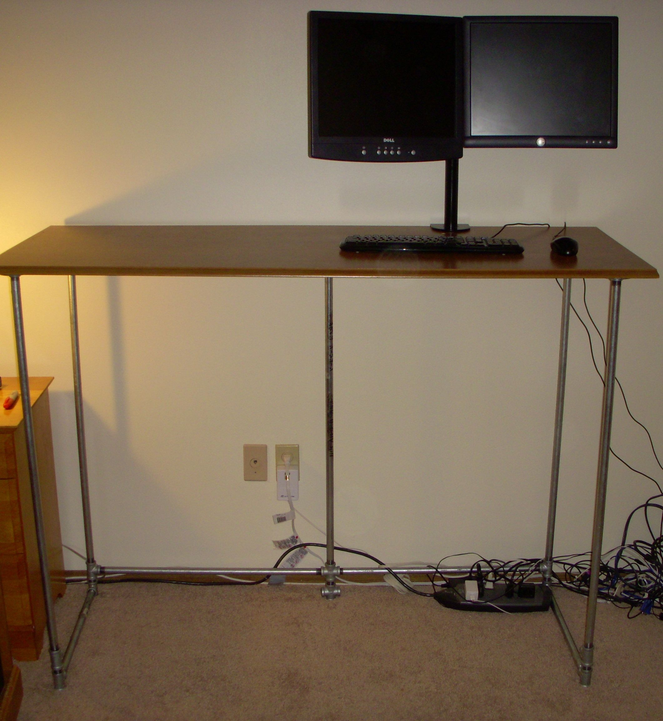 How To Build A Standing Desk On The With Galvanized Pipe