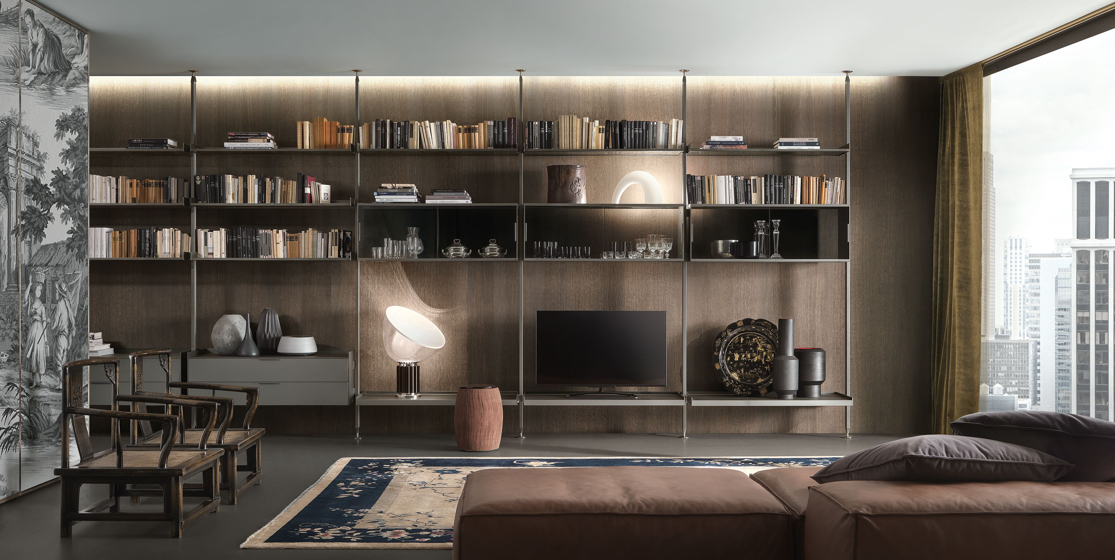 Rimadesio Zenit bookcase with brushed lead structure shelves and