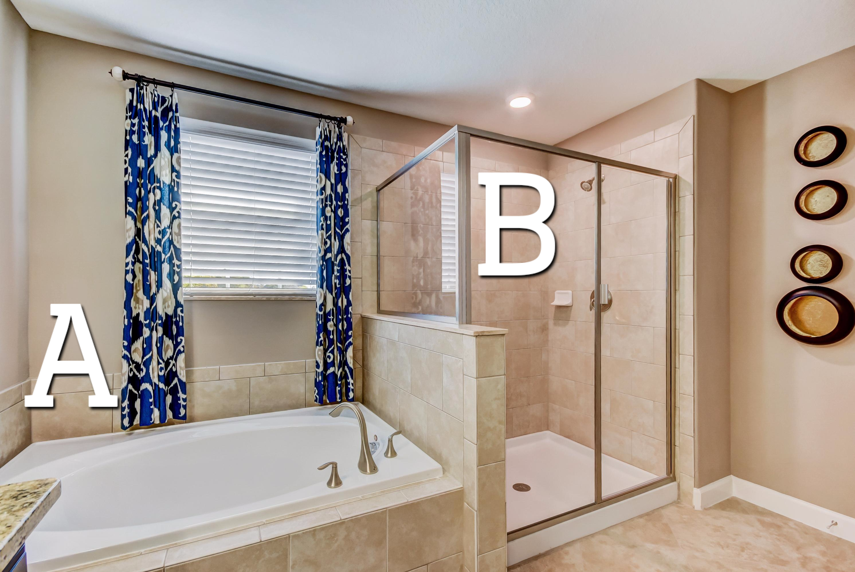 Which feature do you prefer in this master bathroom? A. The garden ...