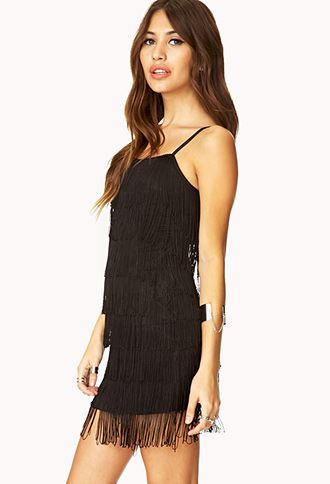 Black Fringe Dress Forever 21