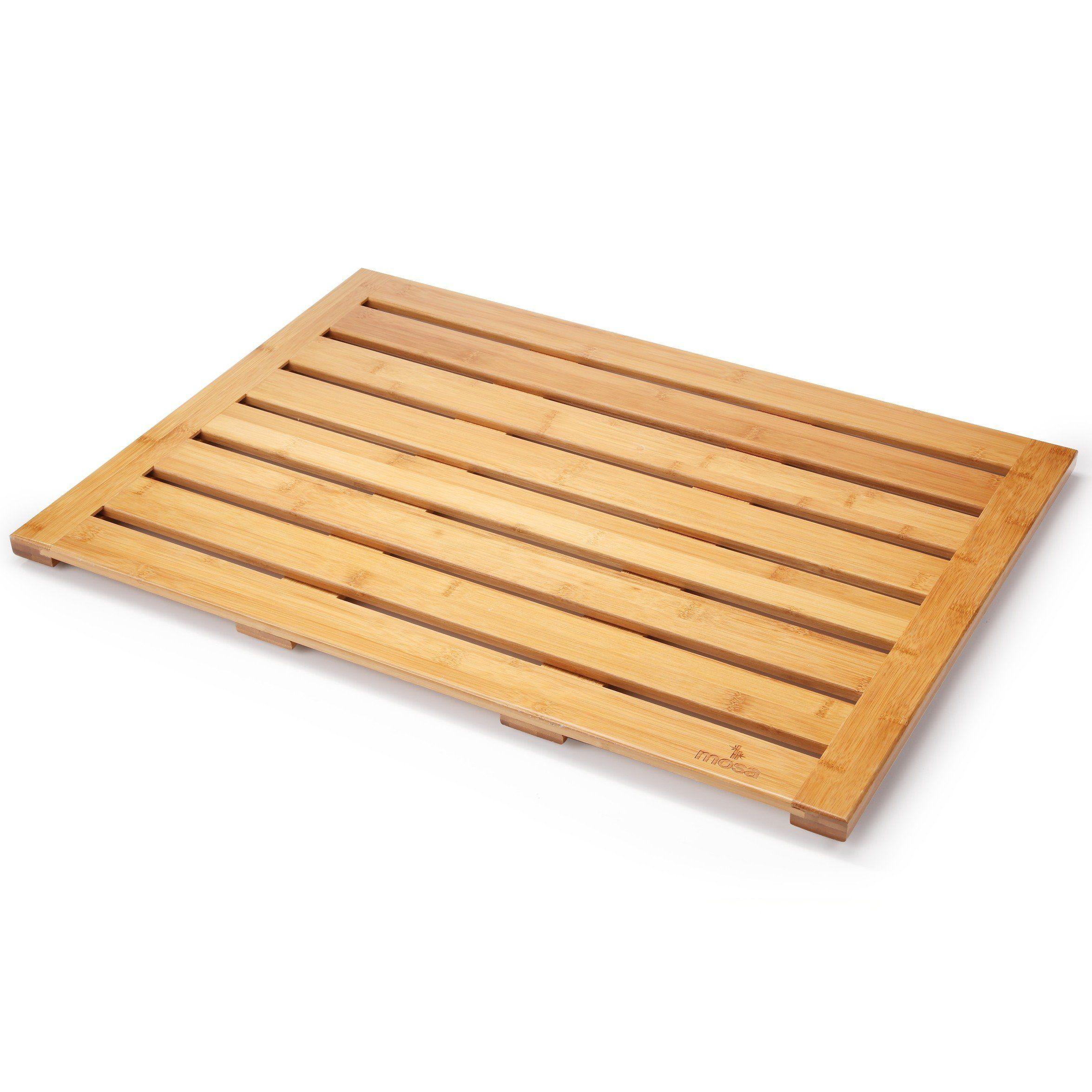 "28/"" X 20/"" Wood Bathroom Accessories Eco-friendly Mosa Natural Bamboo Bath Mat"