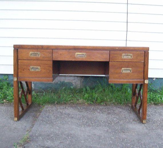 Vintage 1960u0027s Sligh Campaign Desk Black Leather Top Pecan Wood Office Desk  Drawer Handles Leather Desk Drawer Pulls