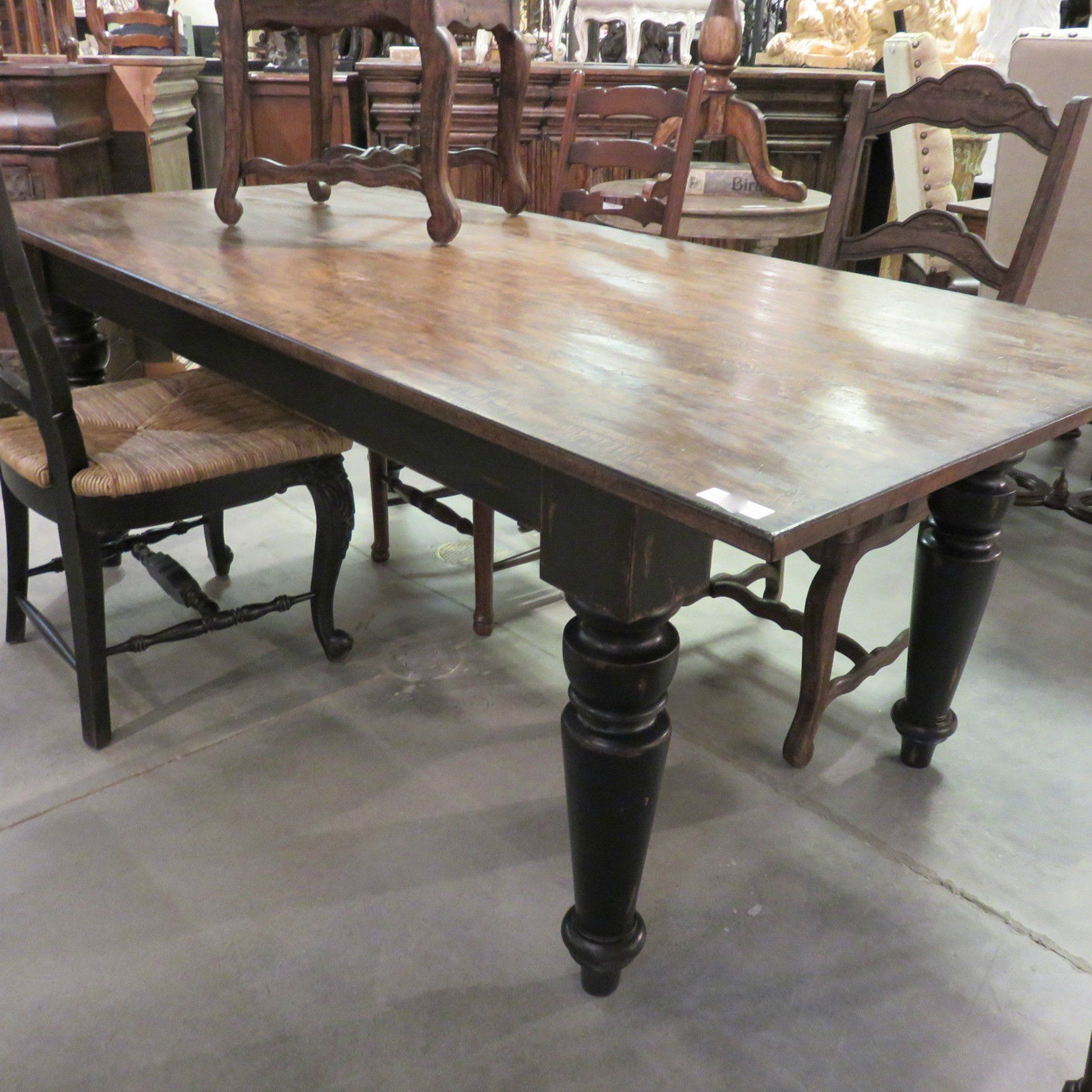 Rustic Farmhouse Dining Table 72 Black Distressed Reclaimed Wood