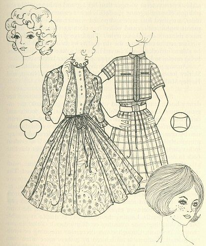 FIG 4.5 The ingenue yin qualities (left) of youth and femininity are accented by repeating the rococo curves and dainty details appropriate in excess for only the very young. The gay, young, informal qualities of the gamin type (right) may be complemented by casual cottons, her favorite shorts or jeans, or the latest fun fad.