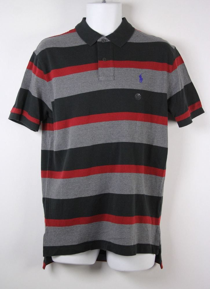 Men Ralph Lauren Classic Fit Black Gray Red Striped Mesh Cotton Rugby Polo  Shirt M