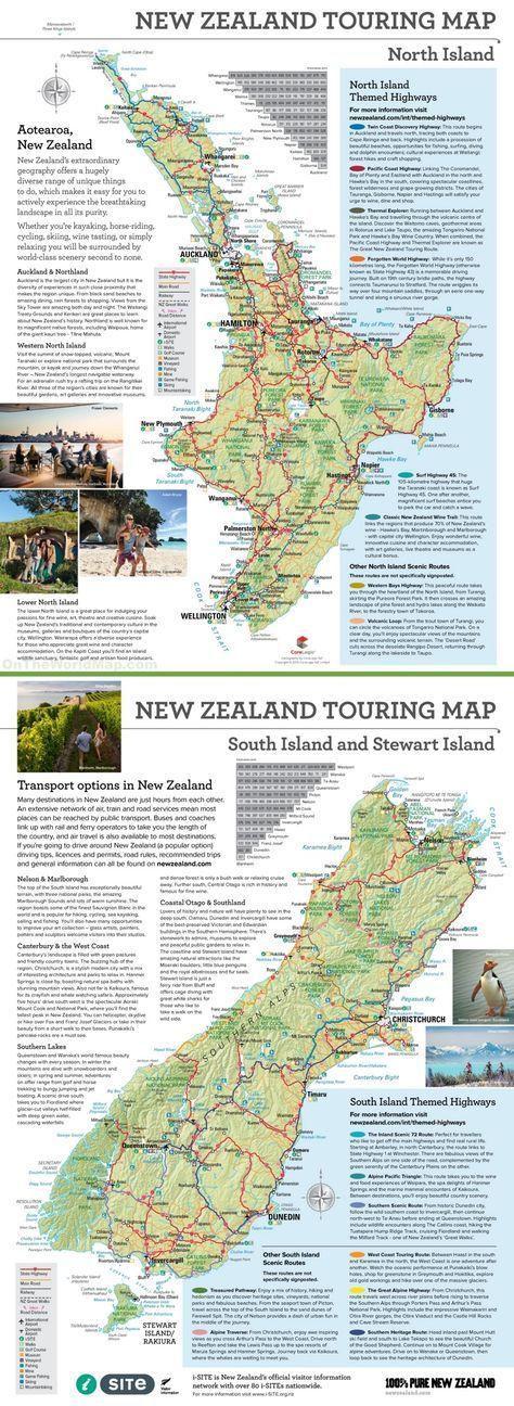Large detailed tourist map of New Zealand NZ Pinterest Tourist
