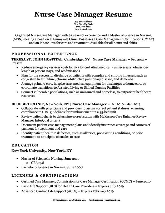 Nurse manager resume, CV, job description, example, sample ...