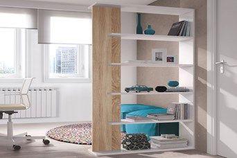 Bibliothèque - Blanc brillant et imitaiton chêne canadien