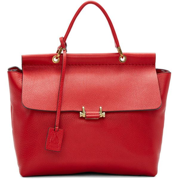 Lanvin Red Essential Flap Bag (3,003,550 KRW) ❤ liked on Polyvore featuring bags, handbags, shoulder bags, leather shoulder bag, genuine leather handbags, structured leather handbag, leather handbags and leather flap bag