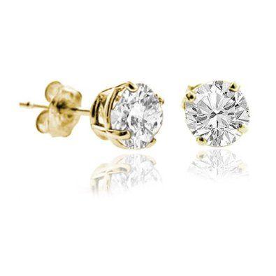 1 4 Ct Diamond Stud Earrings 14k Yellow Gold I1 I2 Clarity Diamond Earrings Studs Stud Earrings Diamond Studs