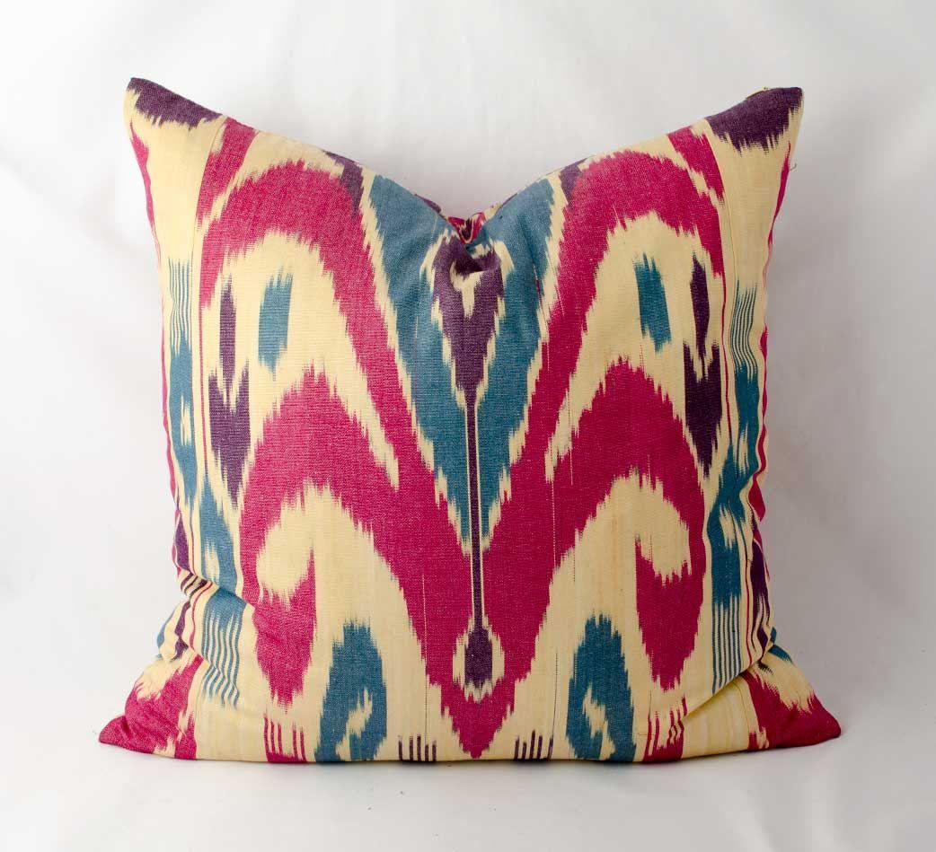19x19, ikat pillow cover, pink and cream ikat pillow cover, ikat ...