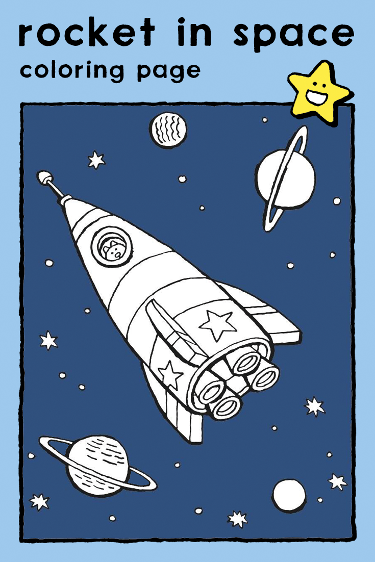 Rocket In Space Coloring Page Kids Animals Cats