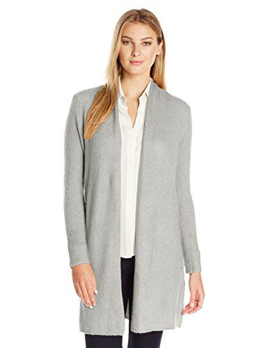 Lark & Ro Women's Long Open Cardigan, Nut, X-Large. Jersey-stitched cardigan  in wool blend featuring open front. Long sleeves with ribbed cuffs.