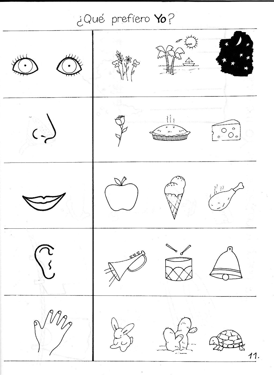 Recursos Para Educación Infantil Actividad Para Trabajar La Iden Actividades De Aprendizaje Preescolares Los Cinco Sentidos En Preescolar Fichas De Preescolar