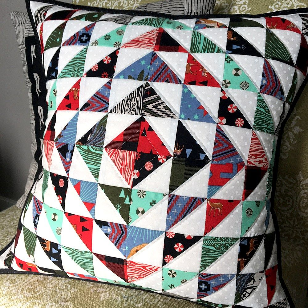 Make this halfsquare triangle diamonds quilted pillow cover