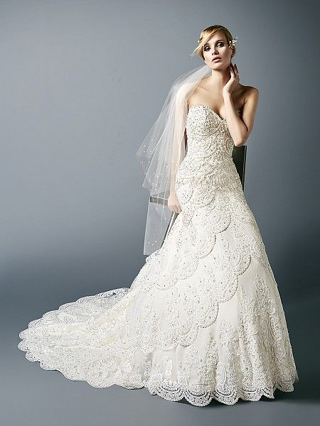 Vintage layered lace sweetheart neckline wedding dress with beading ...