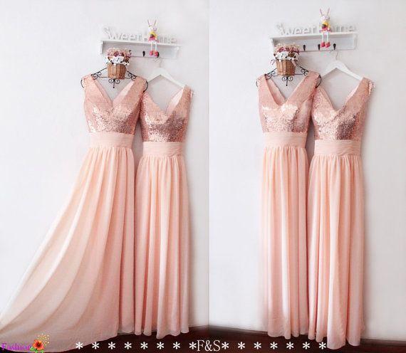 d7f0e7b29f2 Peach Bridesmaid Dress