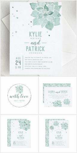 Watercolor Succulents Invitation Suite. Stylish wedding invitation featuring a variety of our hand painted watercolor succulents combined with a modern typographic layout. #ad