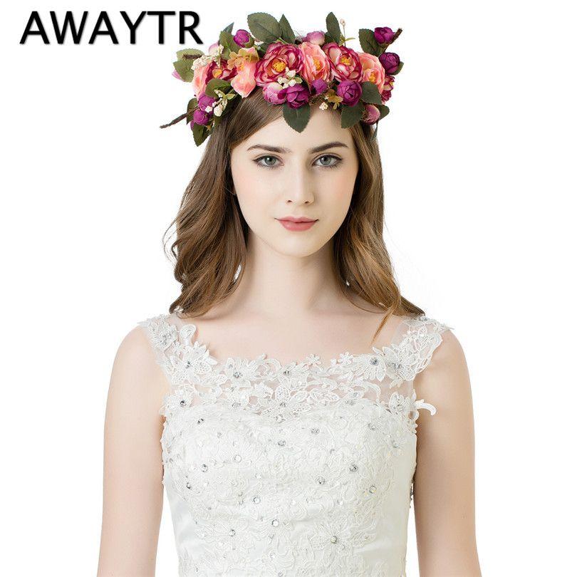 c0107f8e38f AWAYTR Handmade Woman Girls Artificial Flower Headband Party Wedding Fabric  Flower Wreath Hair turquoise Flower Crown
