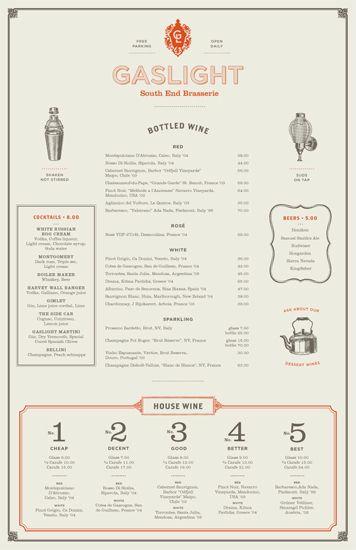 Gaslight drinks menu Design and Typography Menu Design, Menu