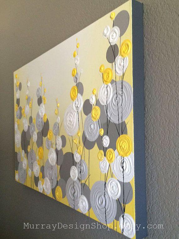 Amarillo y gris con textura rbol de dos 18 x 24 listo para enviar pintura de acr lico - Telas decorativas para paredes ...