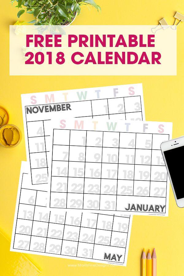 2018 Free Printable Calendar Free printable monthly calendar - free printable monthly calendar