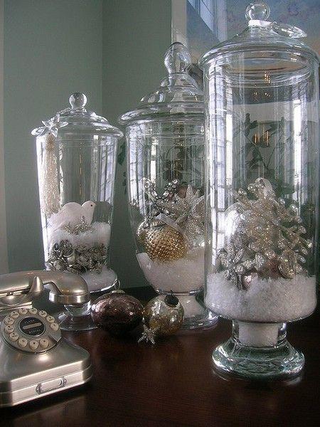 Christmas Decor Hurricane Vase With Lid Snow And Ornaments Christmas Decorations Christmas Holidays Holiday