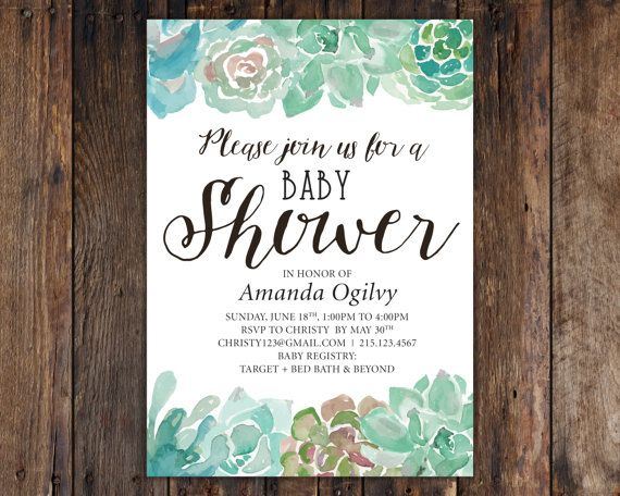 Succulent cactus baby shower 5x7 invitation rustic vintage this listing includes 5x7 invitations on heavy high quality matte or cream stopboris Image collections