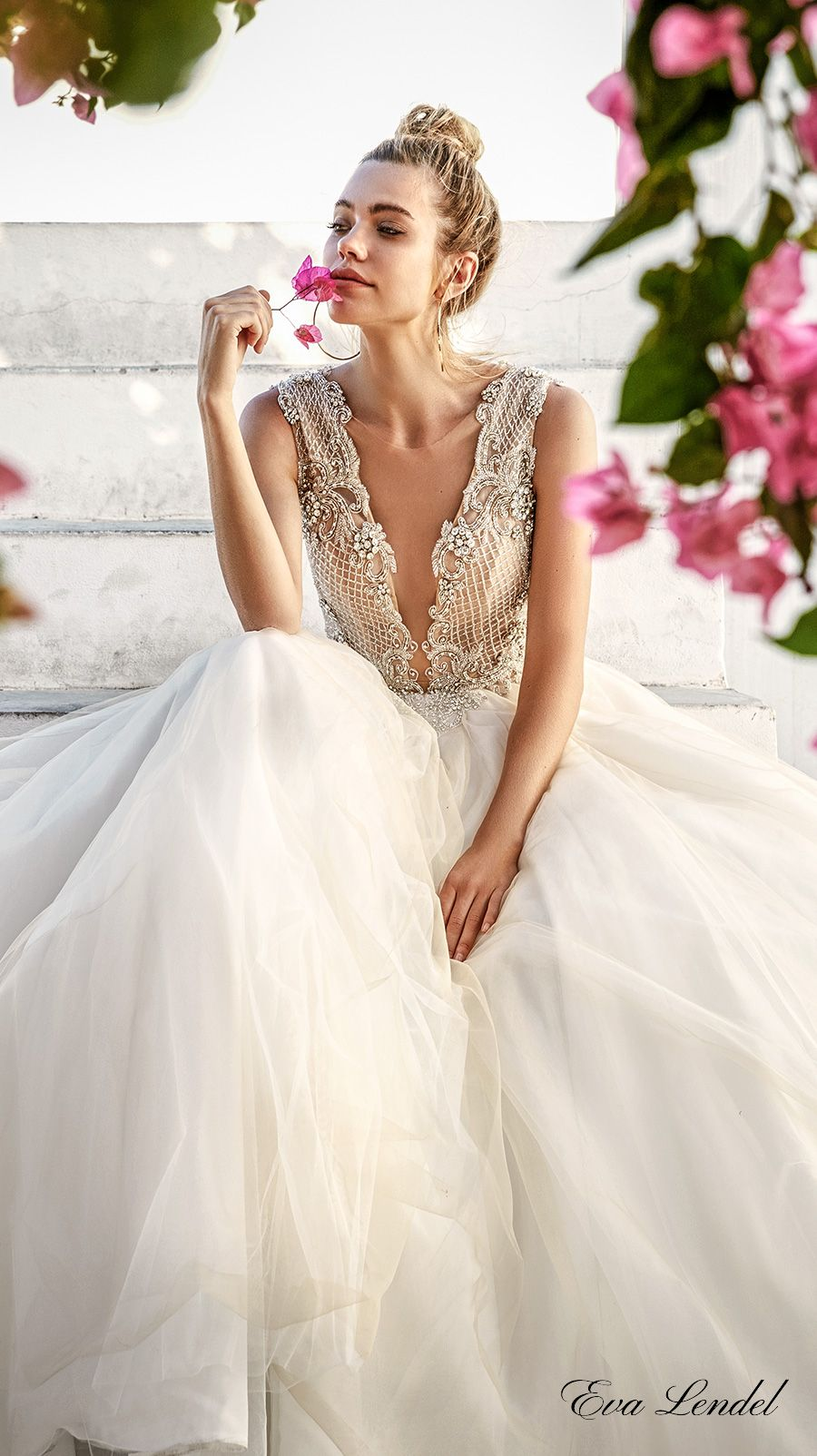 eva lendel 2017 bridal sleeveless deep plunging v neck heavily embellished  bodice romantic sexy ball gown a line wedding dress sheer back chapel train  ... a4124f4bf4dfd