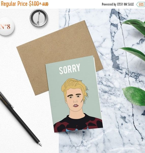 Justin Beiber Sorry Funny Birthday Card Apologies Card Greeting